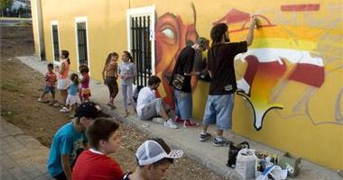 En la margen derecha de las vías del tren de Badajoz: Centro Social el Gurugú